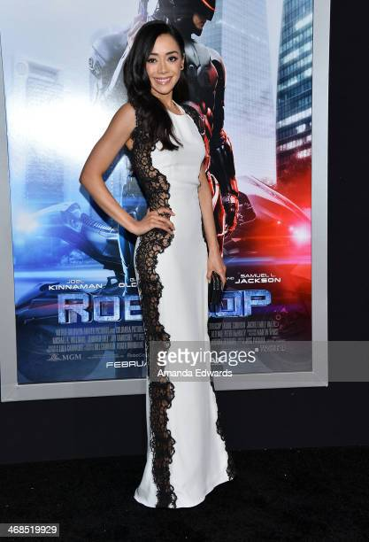 Actress Aimee Garcia arrives at the Los Angeles premiere of 'Robocop' at the TCL Chinese Theatre on February 10 2014 in Hollywood California