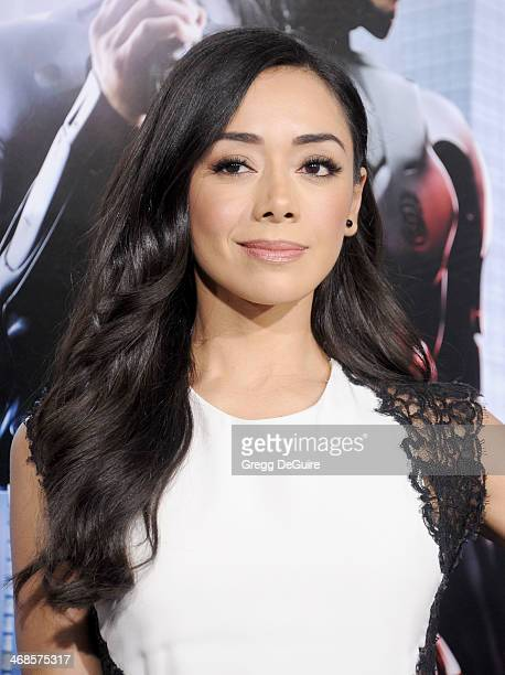 Actress Aimee Garcia arrives at the Los Angeles premiere of 'Robocop' at TCL Chinese Theatre on February 10 2014 in Hollywood California