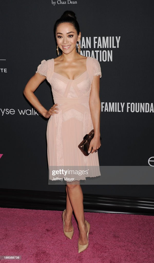 Actress <a gi-track='captionPersonalityLinkClicked' href=/galleries/search?phrase=Aimee+Garcia&family=editorial&specificpeople=561569 ng-click='$event.stopPropagation()'>Aimee Garcia</a> attends The Pink Party 2013 at Barker Hangar on October 19, 2013 in Santa Monica, California.