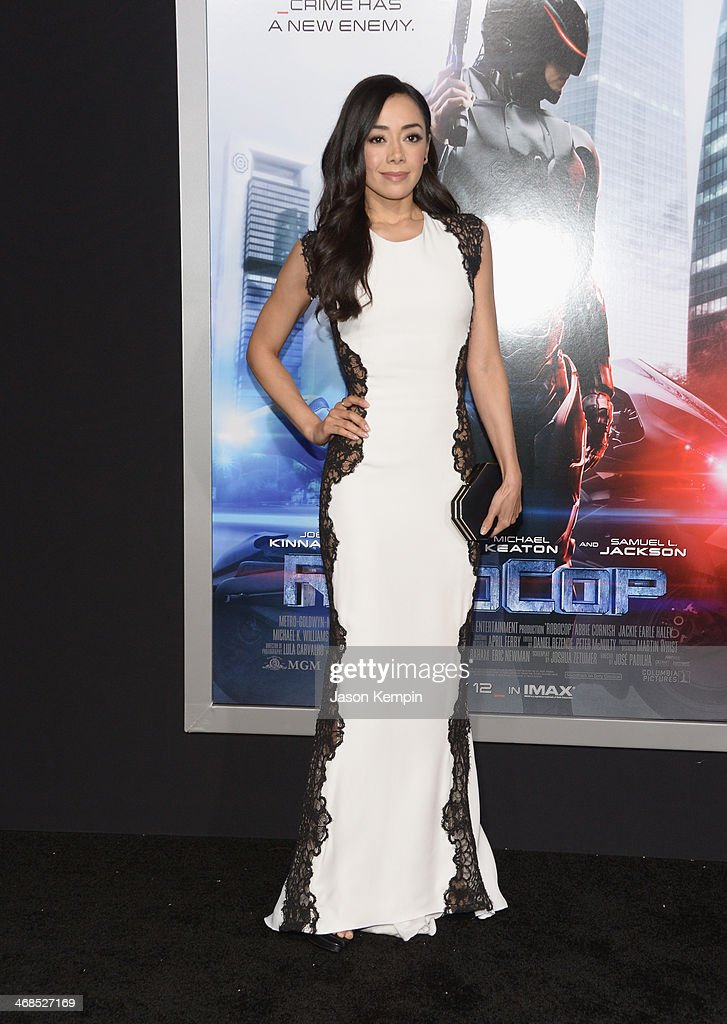 Actress <a gi-track='captionPersonalityLinkClicked' href=/galleries/search?phrase=Aimee+Garcia&family=editorial&specificpeople=561569 ng-click='$event.stopPropagation()'>Aimee Garcia</a> attends the premiere of Columbia Pictures' 'Robocop' on February 10, 2014 in Hollywood, California.