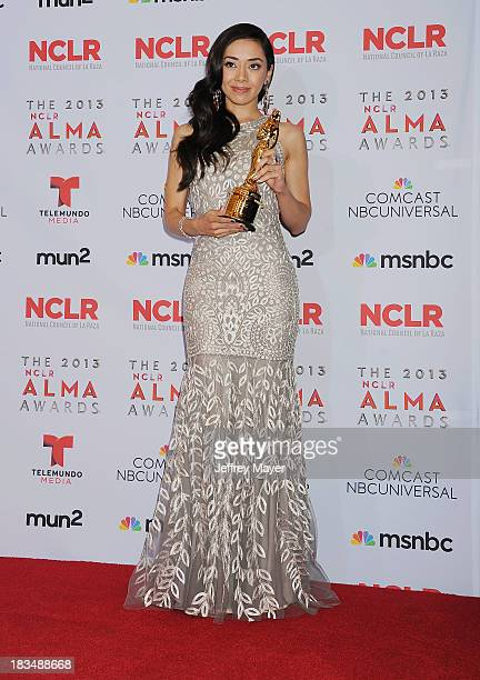Actress Aimee Garcia poses in the press room at the 2013 NCLA ALMA Awards at Pasadena Civic Auditorium on September 27 2013 in Pasadena California
