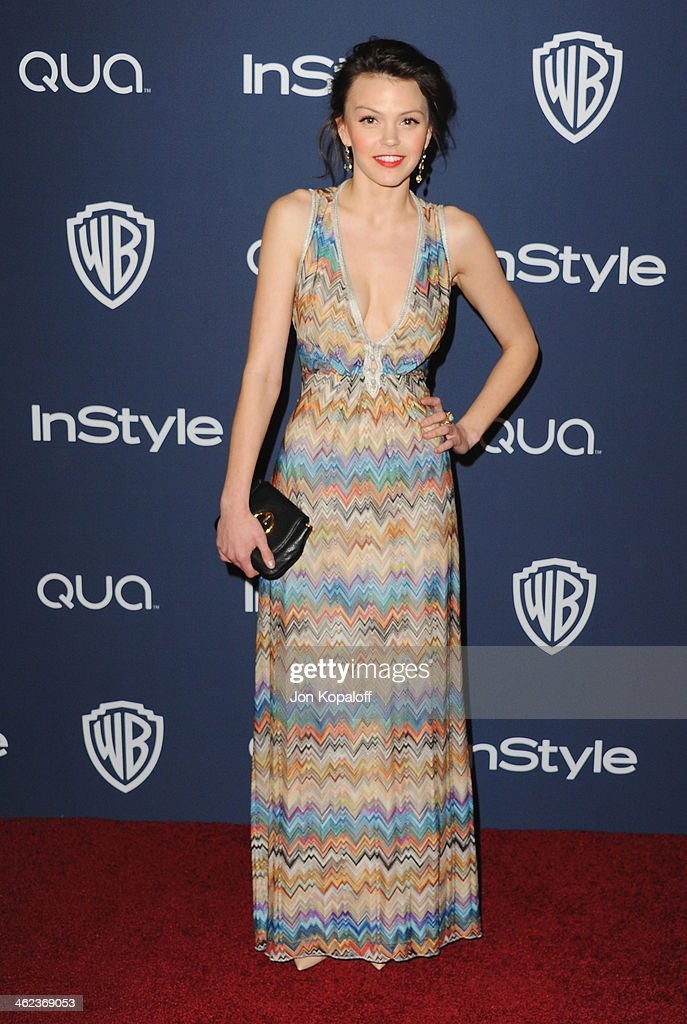 Actress Aimee Teegarden arrives at the 2014 InStyle And Warner Bros 71st Annual Golden Globe Awards PostParty on January 12 2014 in Beverly Hills...