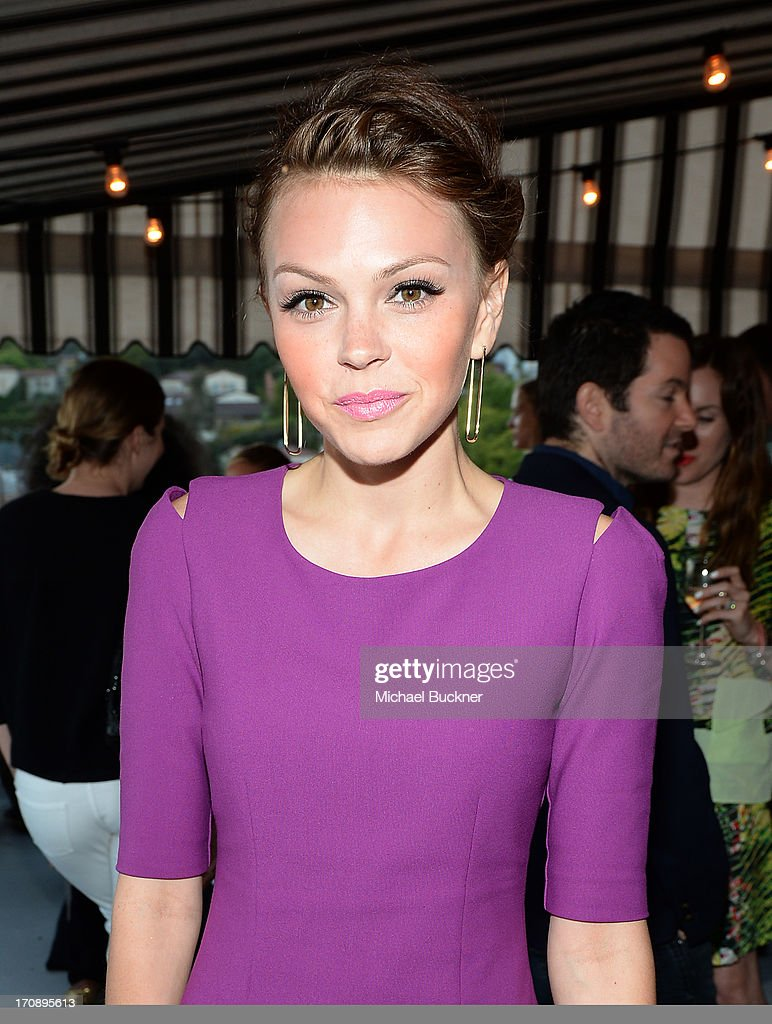 Actress Aimee Teegarden attends Mary-Kate Olsen, Ashley Olsen, and InStyle Editor Ariel Foxman celebrate the launch of the Elizabeth and James Fall 2013 Handbag Collection at a cocktail party held at Chateau Marmont in West Hollywood on June 19, 2013.