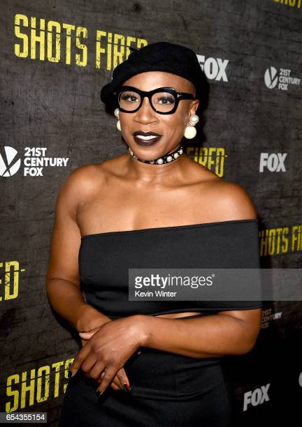 Actress Aisha Hinds arrives at a screening and QA for FOX TV's 'Shots Fired' at the Pacific Design Center on March 16 2017 in West Hollywood...