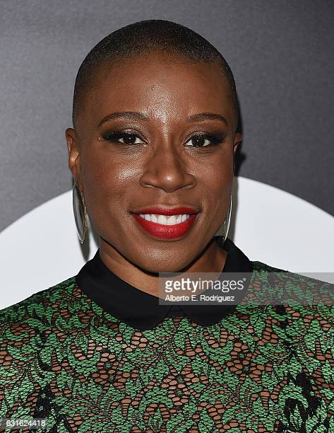 Actress Aisha Hinds attends the photo call for WGN America's 'Underground' and 'Outsiders' at The Langham Hotel on January 13 2017 in Pasadena...