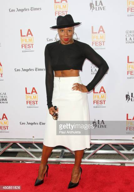 Actress Aisha Hinds attends the premiere of 'Dear White People' at the 2014 Los Angeles Film Festival at the Premiere House on June 18 2014 in Los...