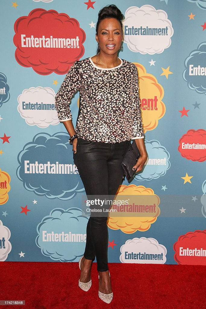 Actress <a gi-track='captionPersonalityLinkClicked' href=/galleries/search?phrase=Aisha+Tyler&family=editorial&specificpeople=202262 ng-click='$event.stopPropagation()'>Aisha Tyler</a> arrives at Entertainment Weekly's annual Comic-Con celebration at Float at Hard Rock Hotel San Diego on July 20, 2013 in San Diego, California.