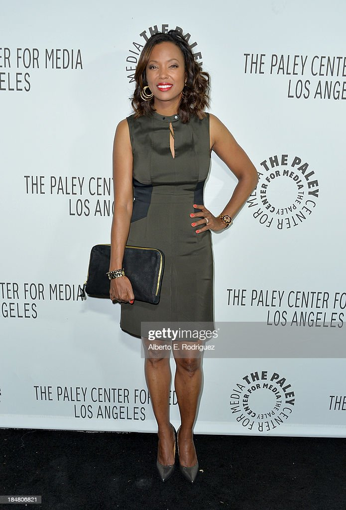 Actress <a gi-track='captionPersonalityLinkClicked' href=/galleries/search?phrase=Aisha+Tyler&family=editorial&specificpeople=202262 ng-click='$event.stopPropagation()'>Aisha Tyler</a> arrives at The Paley Center for Media's 2013 benefit gala honoring FX Networks with the Paley Prize for Innovation & Excellence at Fox Studio Lot on October 16, 2013 in Century City, California.