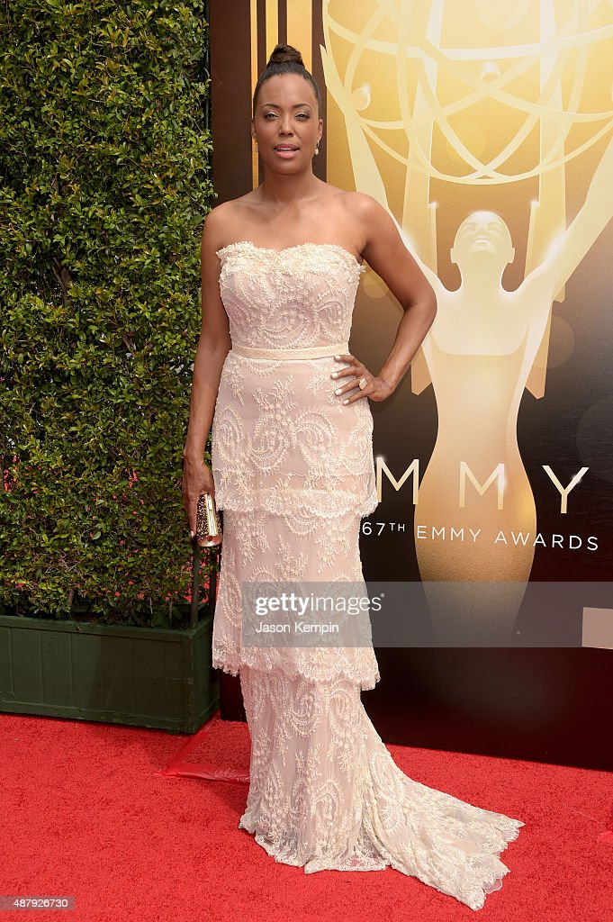 Actress <a gi-track='captionPersonalityLinkClicked' href=/galleries/search?phrase=Aisha+Tyler&family=editorial&specificpeople=202262 ng-click='$event.stopPropagation()'>Aisha Tyler</a> attends the 2015 Creative Arts Emmy Awards at Microsoft Theater on September 12, 2015 in Los Angeles, California.