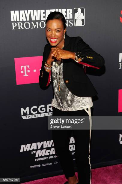 Actress Aisha Tyler attends the VIP party before the boxing match between boxer Floyd Mayweather Jr and Conor McGregor at TMobile Arena on August 26...