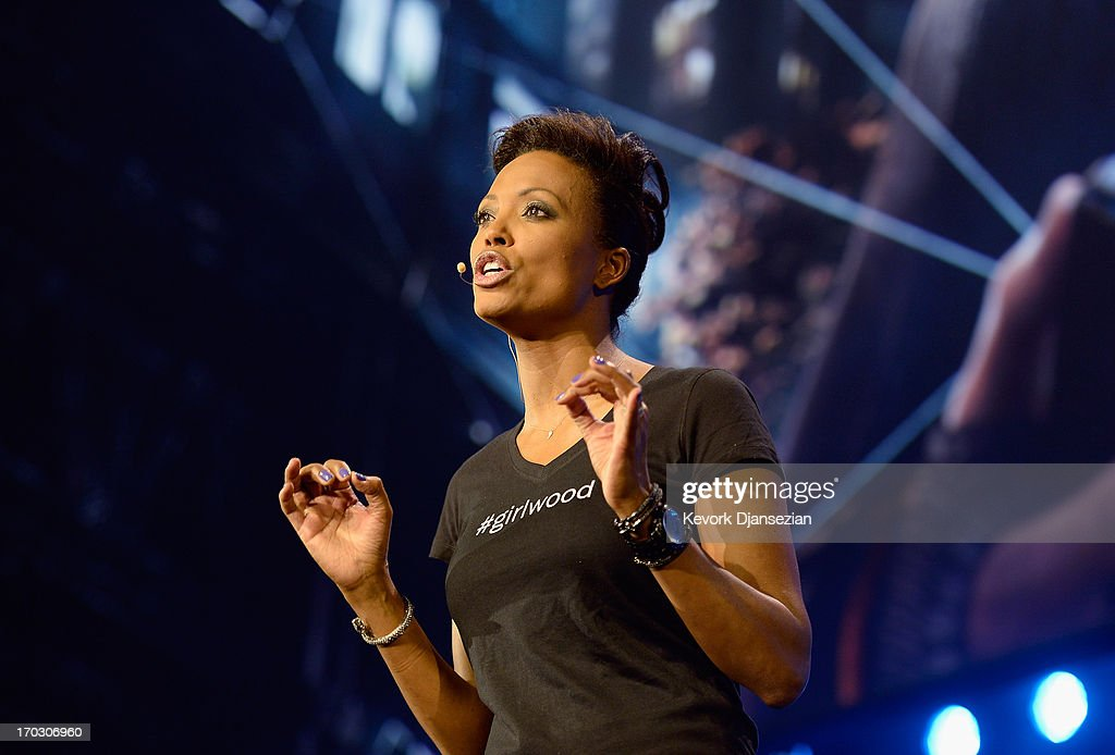 Actress <a gi-track='captionPersonalityLinkClicked' href=/galleries/search?phrase=Aisha+Tyler&family=editorial&specificpeople=202262 ng-click='$event.stopPropagation()'>Aisha Tyler</a>, host of the Ubisoft news conference, speaks durng the Electronic Entertainment Expo at the Los Angeles Theater on June 10, 2013 in Los Angeles, California. Thousands are expected to attend the annual three-day convention to see the latest games and announcements from the gaming industry.