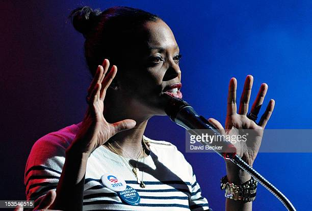 Actress Aisha Tyler speaks at an early vote event for Obama for America at the House of Blues inside the Mandalay Bay Resort Casino on the last day...