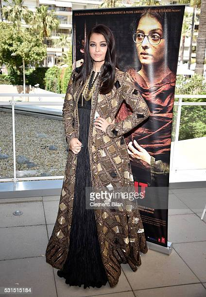 Actress Aishwarya Rai attends 'Sarbjit' Photocall during The 69th Annual Cannes Film Festival at the Palais des Festivals on May 15 2016 in Cannes...