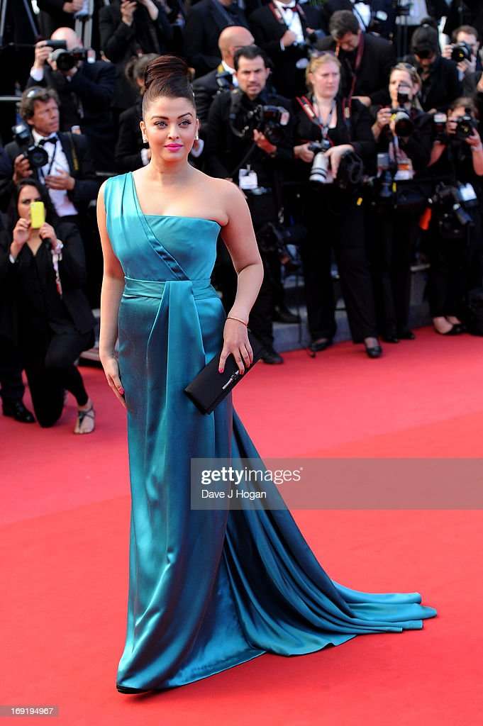 Actress Aishwarya Rai attends the 'Cleopatra' premiere during The 66th Annual Cannes Film Festival at The 60th Anniversary Theatre on May 21, 2013 in Cannes, France.