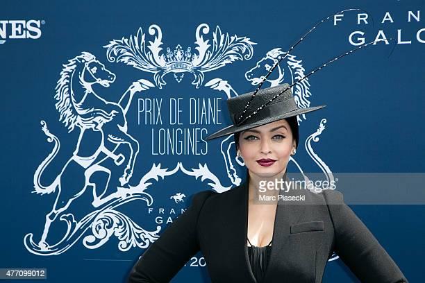 Actress Aishwarya Rai attends the 'Prix de Diane Longines 2015' at Hippodrome de Chantilly on June 14 2015 in Chantilly France