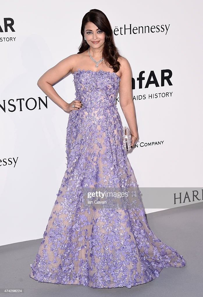 Actress <a gi-track='captionPersonalityLinkClicked' href=/galleries/search?phrase=Aishwarya+Rai&family=editorial&specificpeople=202237 ng-click='$event.stopPropagation()'>Aishwarya Rai</a> Bachchan attends amfAR's 22nd Cinema Against AIDS Gala, Presented By Bold Films And Harry Winston at Hotel du Cap-Eden-Roc on May 21, 2015 in Cap d'Antibes, France.