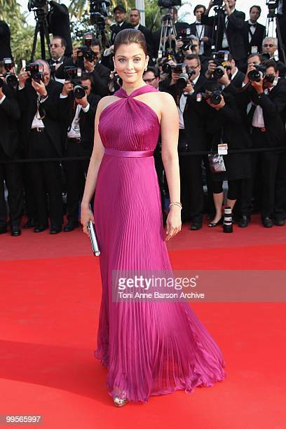 Actress Aishwarya Rai Bachchan attends the Premiere of 'Wall Street Money Never Sleeps' held at the Palais des Festivals during the 63rd Annual...