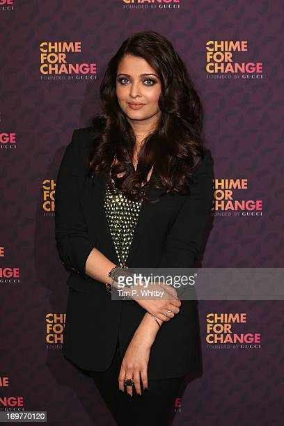 Actress Aishwarya Rai Bachchan poses backstage in the media room at the 'Chime For Change The Sound Of Change Live' Concert at Twickenham Stadium on...