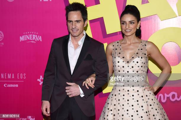Actress Aislinn Derbez and actor Mauricio Ochmann are seen during the pink carpet to promote the latest film 'Hazlo Como Hombre' at Cinepolis Plaza...