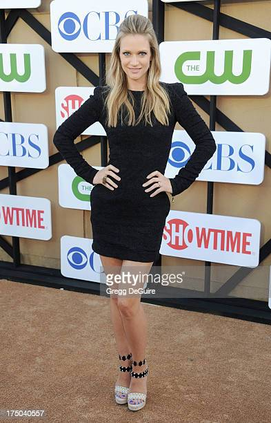 Actress AJ Cook arrives at the CBS/CW/Showtime Television Critic Association's summer press tour party at 9900 Wilshire Blvd on July 29 2013 in...