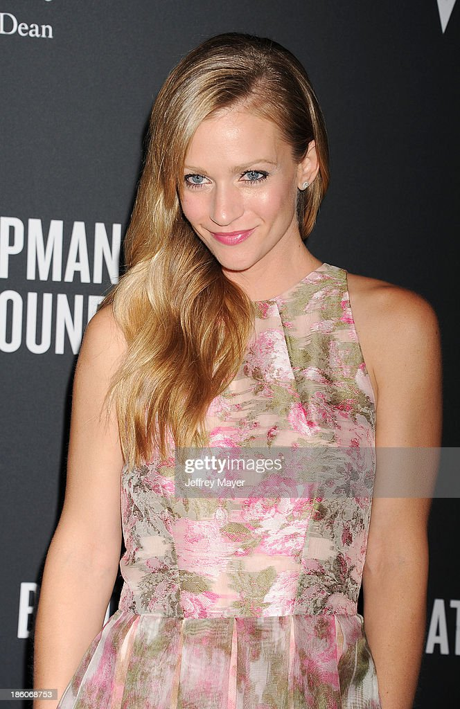 Actress <a gi-track='captionPersonalityLinkClicked' href=/galleries/search?phrase=A.J.+Cook&family=editorial&specificpeople=4246818 ng-click='$event.stopPropagation()'>A.J. Cook</a> attends The Pink Party 2013 at Barker Hangar on October 19, 2013 in Santa Monica, California.