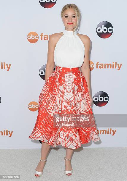 Actress AJ Michalka arrives at Disney ABC Television Group's 2015 TCA Summer Press Tour at the Beverly Hilton Hotel on August 4 2015 in Beverly Hills...