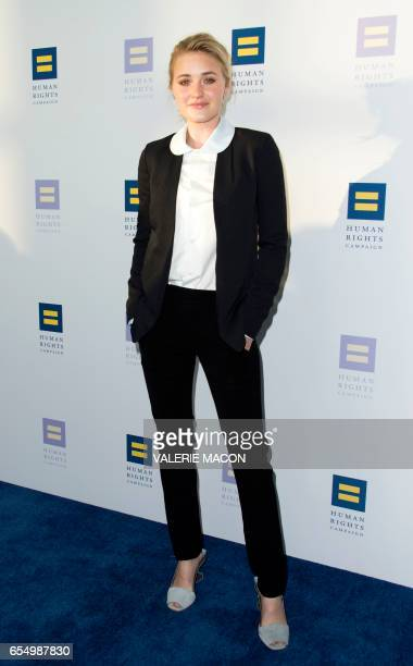 Actress AJ Michalka arrives at The Human Rights Campaign Los Angeles Gala honoring Equality Champions Katy Perry and America Ferrera on March 18 2017...