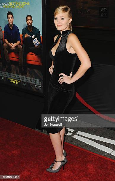 Actress AJ Michalka arrives at the Los Angeles Premiere 'That Awkward Moment' at Regal Cinemas LA Live on January 27 2014 in Los Angeles California