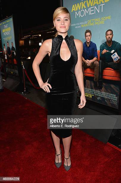 Actress AJ Michalka arrives to the premiere of Focus Features' 'That Awkward Moment' at Regal Cinemas LA Live on January 27 2014 in Los Angeles...