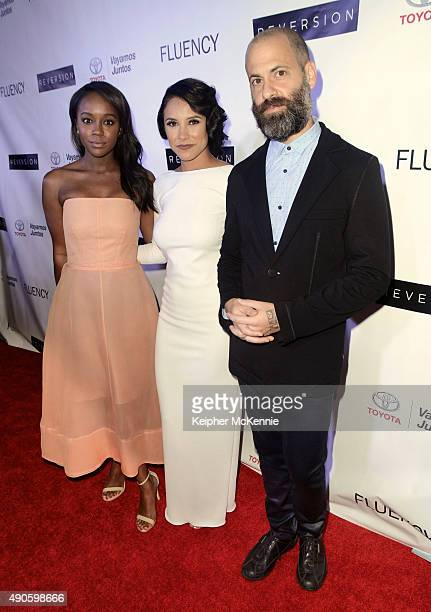 Actress Aja Naomi King actress Jeanette Samano and director Jose Nestor Marquez attend premiere of Angel Valley Productions 'Reversion' at Downtown...