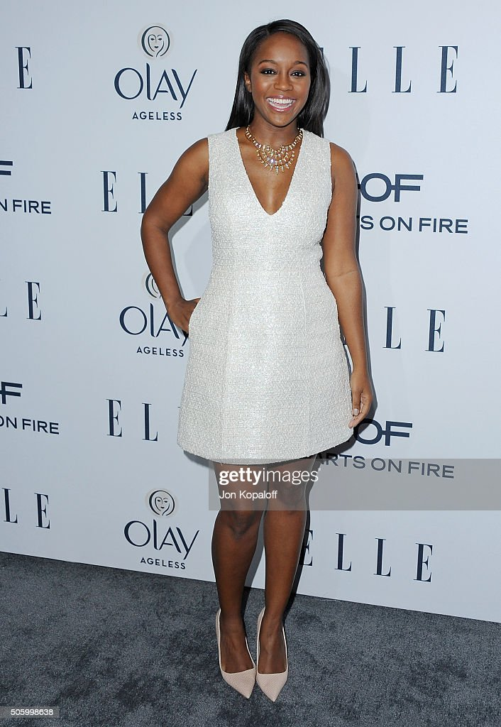 Actress Aja Naomi King arrives at ELLE's 6th Annual Women In Television Dinner at Sunset Tower Hotel on January 20, 2016 in West Hollywood, California.