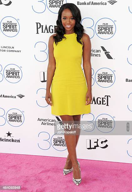 Actress Aja Naomi King arrives at the 2015 Film Independent Spirit Awards on February 21 2015 in Santa Monica California