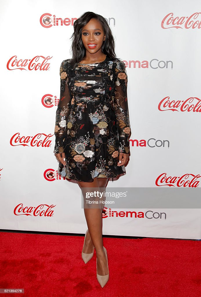 Actress Aja Naomi King attends the CinemaCon Big Screen Achievement Awards brought to you by the Coca-Cola Company at Omnia Nightclub at Caesars Palace during CinemaCon, the official convention of the National Association of Theatre Owners, on April 14, 2016 in Las Vegas, Nevada.