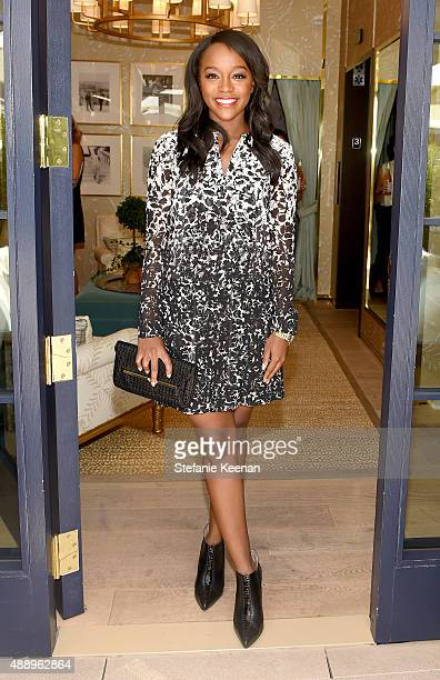 Actress Aja Naomi King attends the Glamour Women To Watch Lunch hosted by Cindi Leive at the Tory Burch Boutique Beverly Hills on September 18 2015...