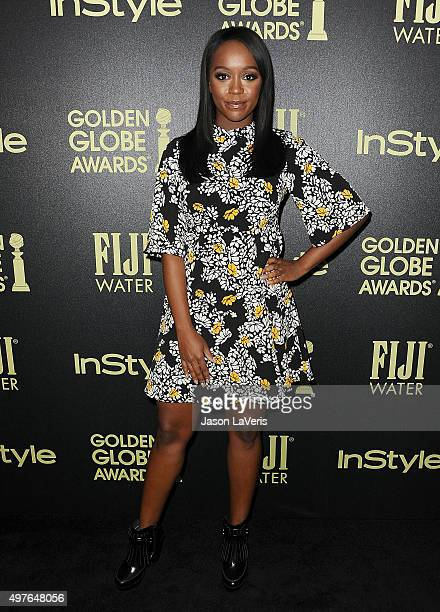 Actress Aja Naomi King attends the Hollywood Foreign Press Association and InStyle's celebration of the 2016 Golden Globe award season at Ysabel on...