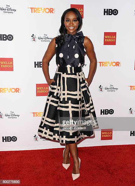 Actress Aja Naomi King attends TrevorLIVE LA 2015 at Hollywood Palladium on December 6 2015 in Los Angeles California