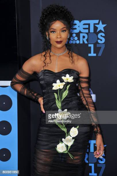 Actress Ajiona Alexus arrives at the 2017 BET Awards at Microsoft Theater on June 25 2017 in Los Angeles California