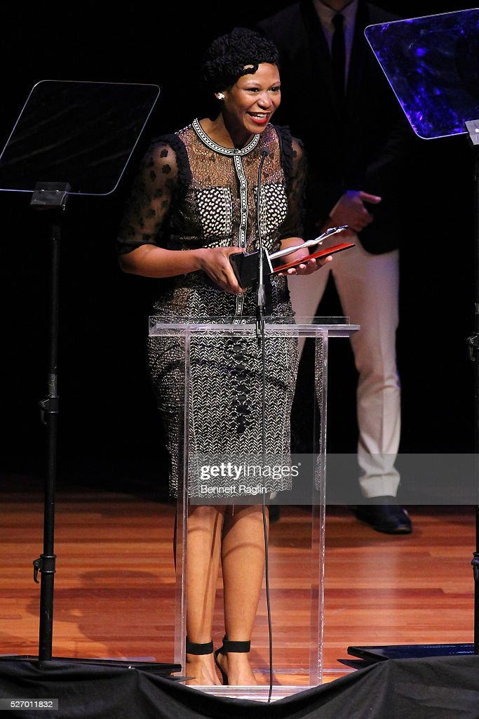 Actress Alana Arenas accepts an award onstage during the 31st Annual Lucille Lortel Awards at NYU Skirball Center on May 1, 2016 in New York City.