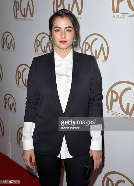 Actress Alanna Masterson attends the 26th Annual Producers Guild Of America Awards at the Hyatt Regency Century Plaza on January 24 2015 in Los...