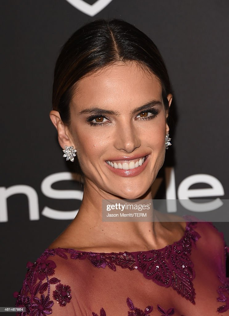 Actress Alessandra Ambrosio attends the 2015 InStyle And Warner Bros 72nd Annual Golden Globe Awards PostParty at The Beverly Hilton Hotel on January...