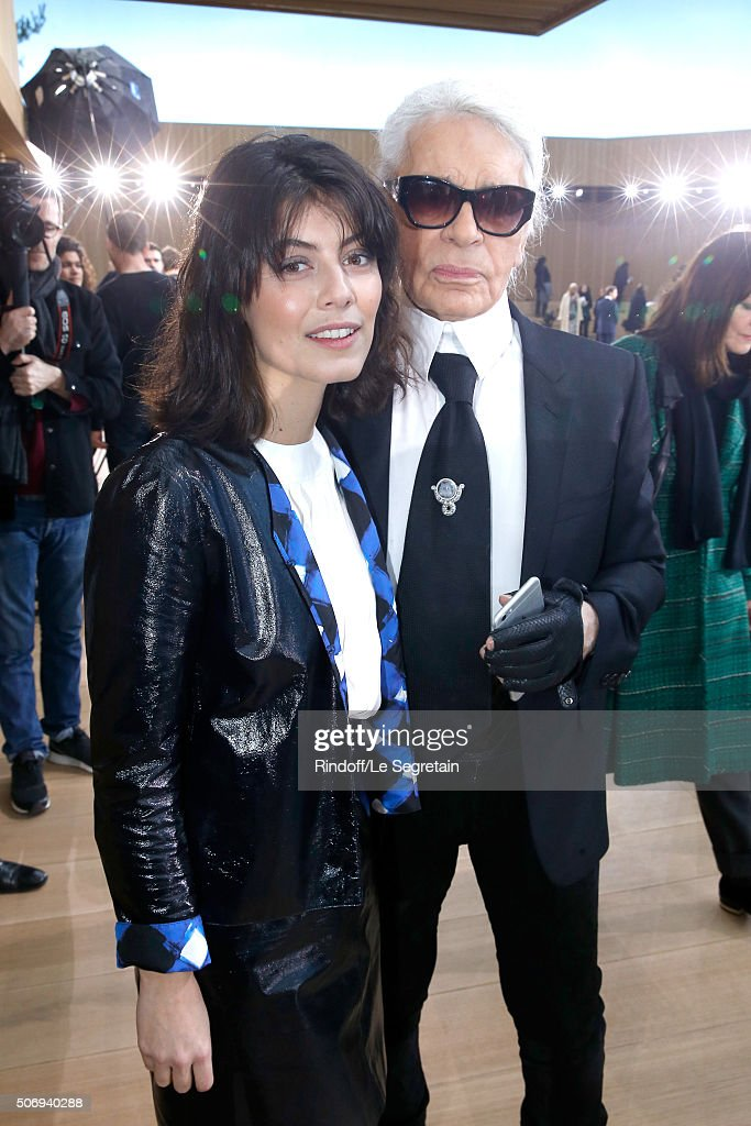 Actress Alessandra Mastronardi and Stylist Karl Lagerfeld pose after the Chanel Spring Summer 2016 show as part of Paris Fashion Week on January 26, 2016 in Paris, France.