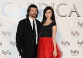 Actress Alessandra Torresani and producer Ronald Moore present 'Caprica' at the Lara Theatre on March 11 2010 in Madrid Spain