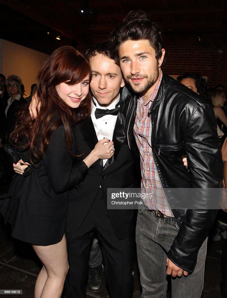 Actress Alessandra Torresani photographer Tyler Shields and actor Matt Dallas attend Dyson Air Multiplier presents Tyler Shields' 'Collisions' at...