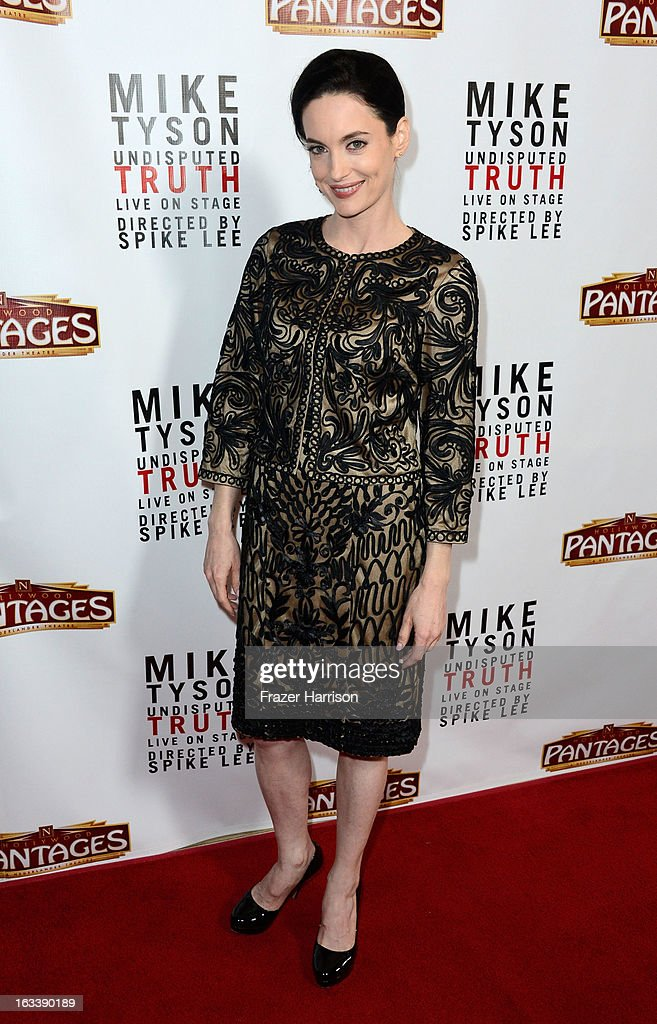 Actress Alex Lombard arrives at the opening Night Of 'Mike Tyson: Undisputed Truth' At The Pantages Theatre at the Pantages Theatre on March 8, 2013 in Hollywood, California.