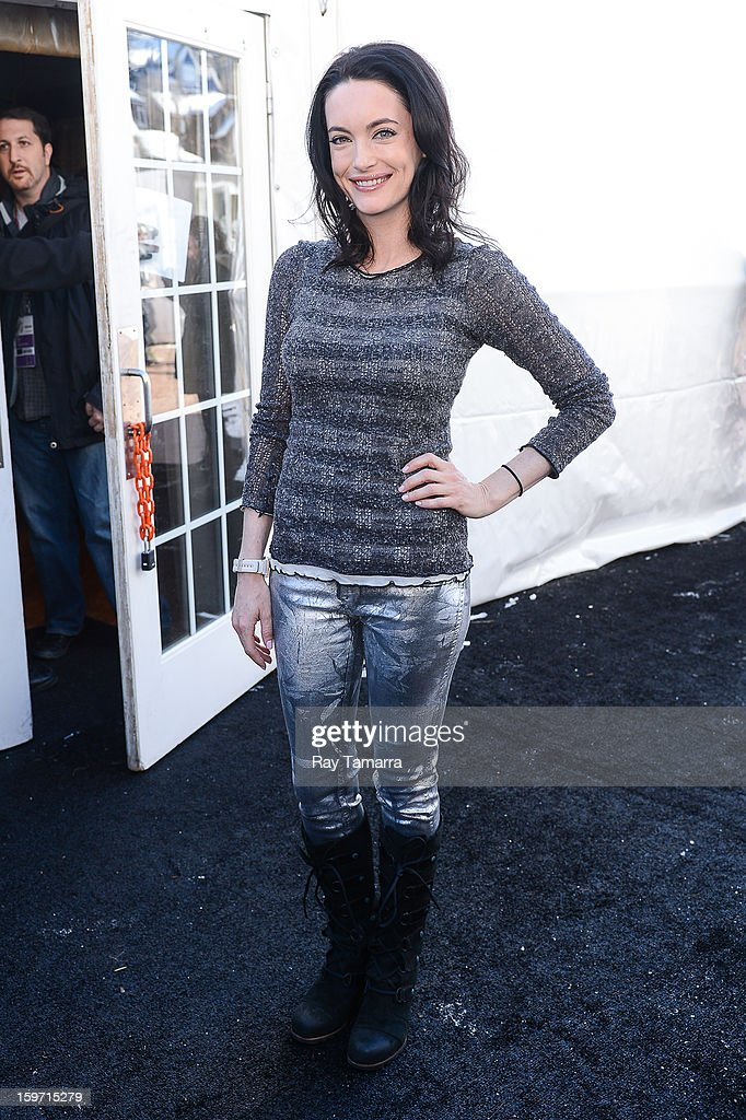 Actress Alex Lombard enters the Wireimage portrait studio on January 18, 2013 in Park City, Utah.