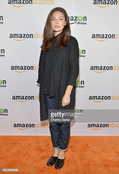 Actress Alexa Davalos attends the 'The Man In The High Castle' panel discussion at the Amazon Studios portion of the 2015 Summer TCA Tour on August 3...