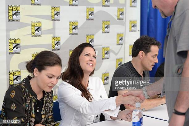 Actress Alexa Davalos executive Isa Dick Hackett and actor Rufus Sewell attend Amazon Original Series 'The Man in the High Castle' panel and signing...