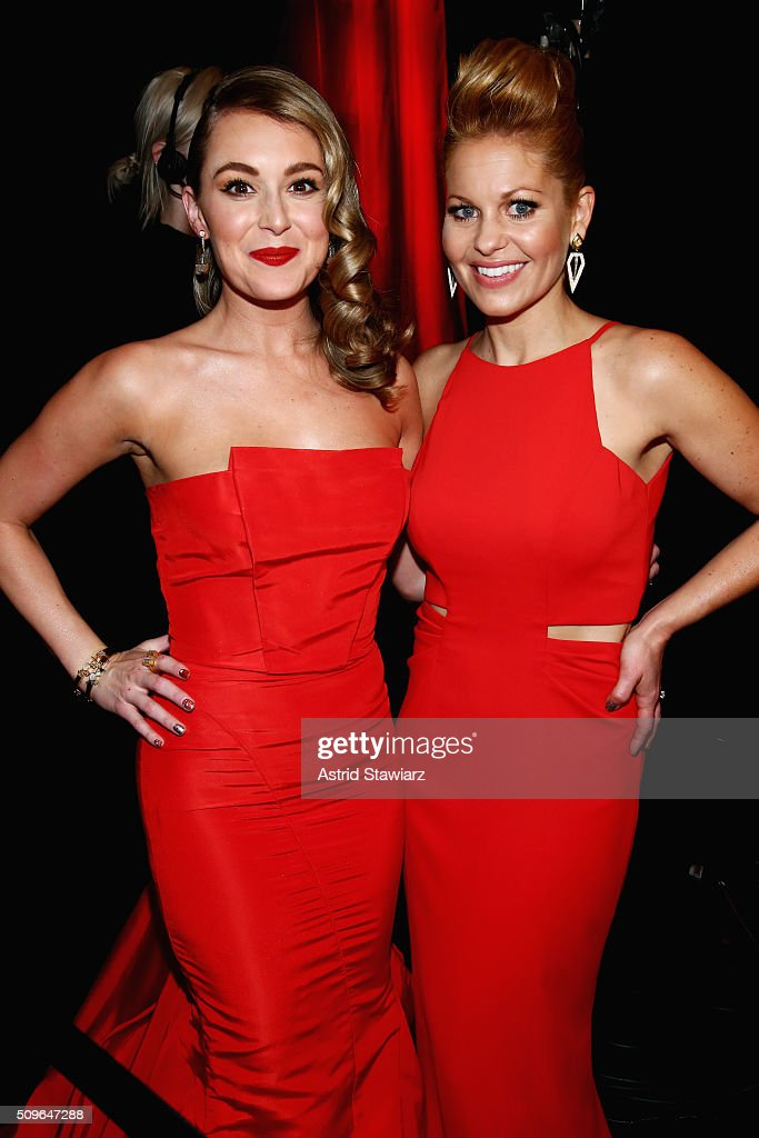 Actress Alexa Vega (L) and Actress <a gi-track='captionPersonalityLinkClicked' href=/galleries/search?phrase=Candace+Cameron+Bure&family=editorial&specificpeople=699962 ng-click='$event.stopPropagation()'>Candace Cameron Bure</a> prepare backstage at The American Heart Association's Go Red For Women Red Dress Collection 2016 Presented By Macy's at The Arc, Skylight at Moynihan Station on February 11, 2016 in New York City.
