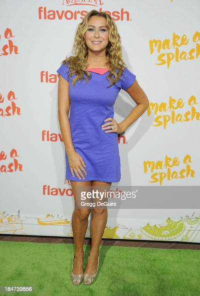 Actress Alexa Vega arrives at the Aquafina FlavorSplash Launch Party at Sony Pictures Studios on October 15 2013 in Culver City California