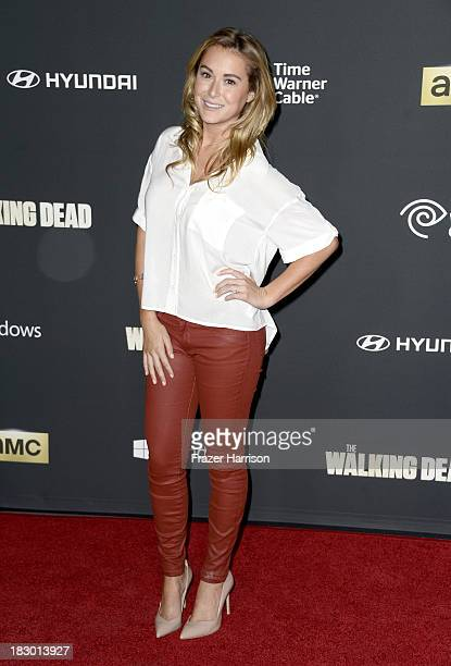Actress Alexa Vega arrives at the premiere of AMC's 'The Walking Dead' 4th season at Universal CityWalk on October 3 2013 in Universal City California